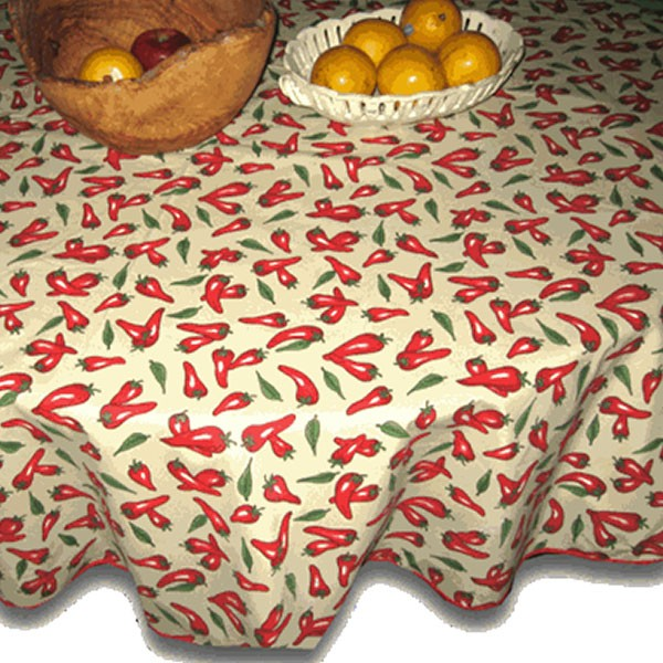 Round Chili Pepper Table Cloth Off White