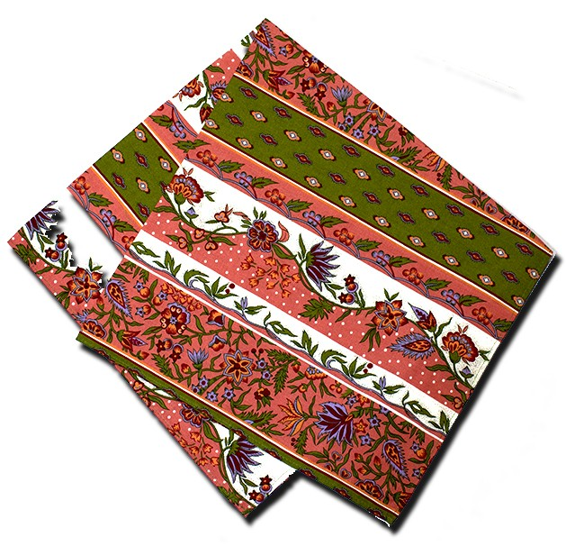 Napkins Manosque Pink and Green