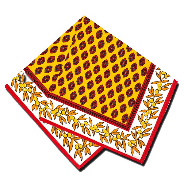 Napkins Gordes Red and Yellow