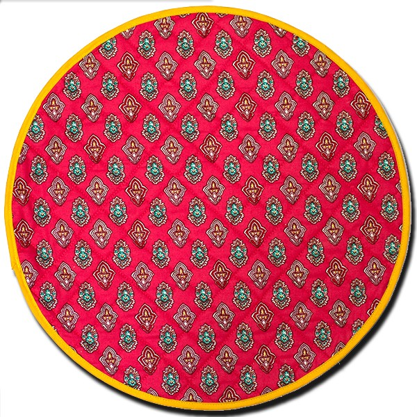 Placemat Manosque Round Red and Yellow (Backside)