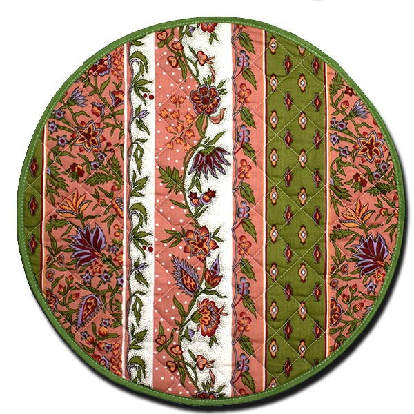Placemat Round Manosque Pink and Green