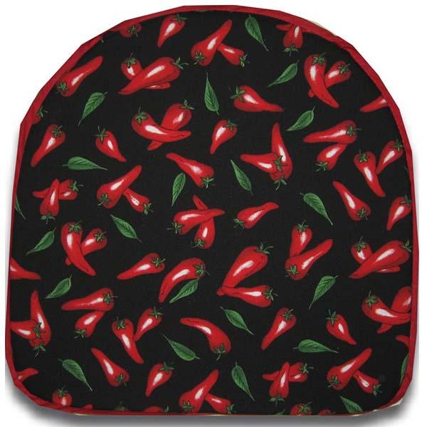 Chair Pad Chili Pepper Black