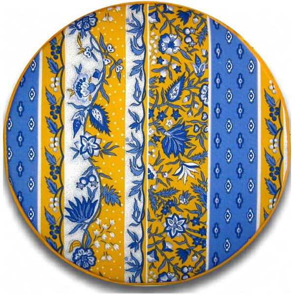 Chair Pad Round Manosque Blue and Yellow