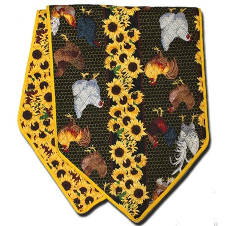 Table Runner Rooster and Hen Yellow
