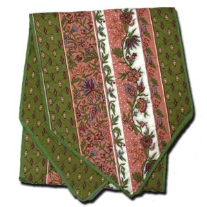 Table Runner Manosque Pink and Green