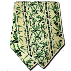 Olives Table Runner White and Green