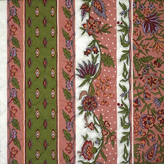 Quilted Fabric - Collection Provence Design: Manosque Pink and Green