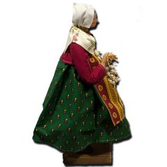 Santon from Provence - Woman with Garlic and White Shawl (Profile View)