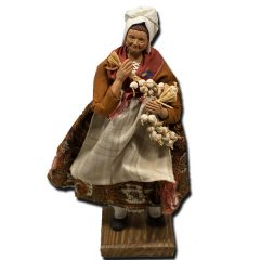 Santon from Provence - Woman with Garlic and Terracotta Shawl