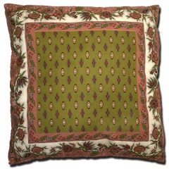 Pillow Case Manosque Pink and Green