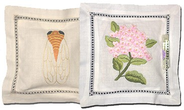 Lavender Pillow Sachets Embroidered