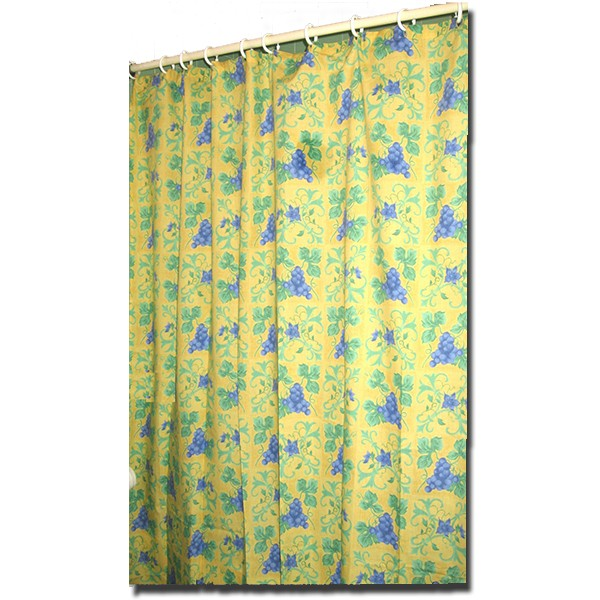 Shower Curtain Raisin Yellow and Blue