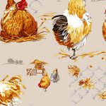 Fabric by the Yard Design Rooster and Hen Off White