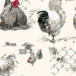 Fabric by the Yard Design Rooster and Hen White