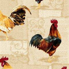Fabric by the Yard Design Rooster and Hen Rust