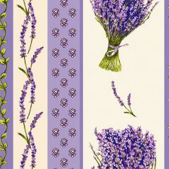 Fabric by the Yard Lavender Design Off White