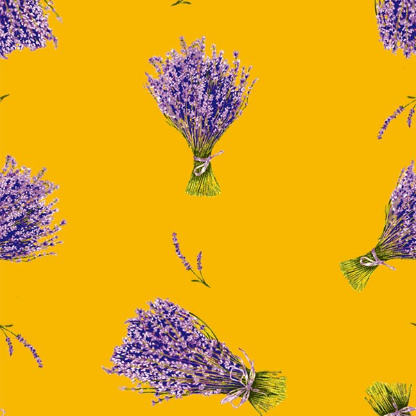 Fabric by the Yard Lavender Design Yellow Coordinate
